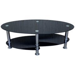 Midcentury Oval Art Deco Center Table in Black Glass Tops and Chrome