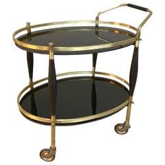 Midcentury Oval Bar Cart