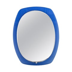 Mid-Century Oval Blue Glass Mirror, Italy, 1960