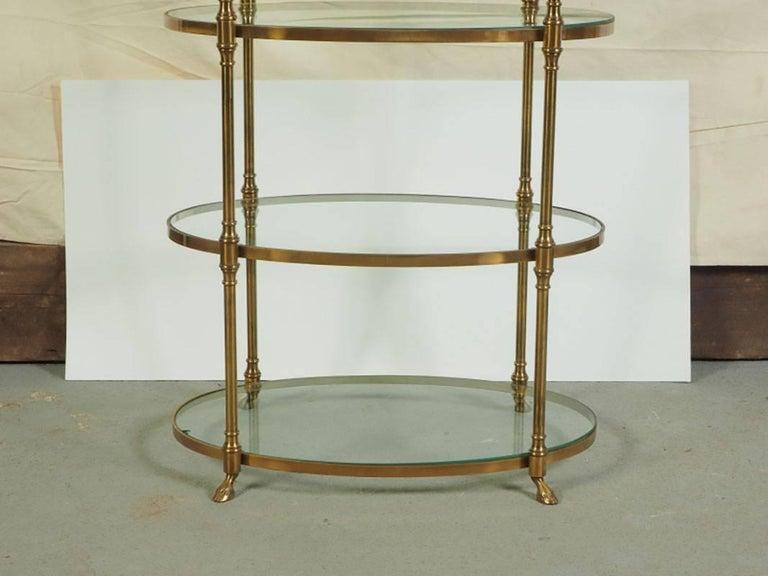 20th Century Midcentury Oval Brass Étagère