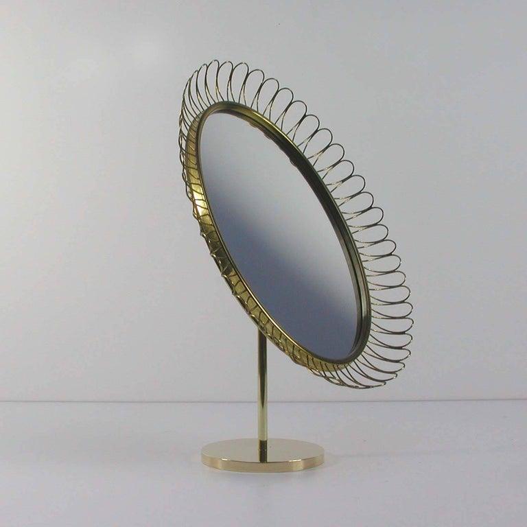 Mid-Century Modern Midcentury Oval Brass Table Mirror Josef Frank Svenskt Tenn Style, 1950s For Sale