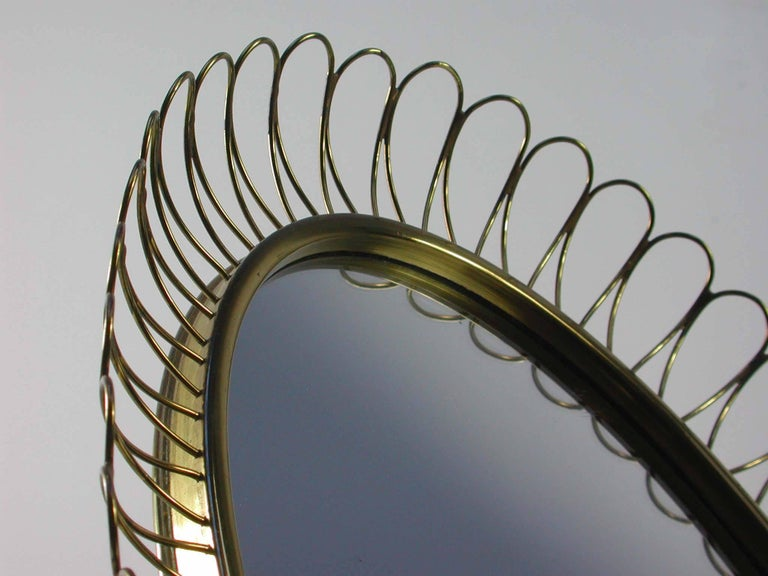 Mid-20th Century Midcentury Oval Brass Table Mirror Josef Frank Svenskt Tenn Style, 1950s For Sale