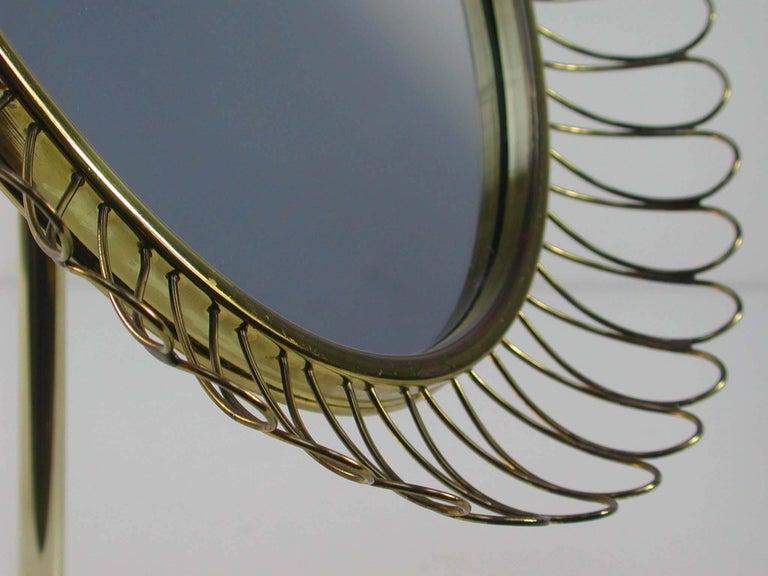 Midcentury Oval Brass Table Mirror Josef Frank Svenskt Tenn Style, 1950s For Sale 1