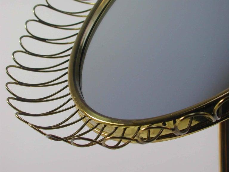 Midcentury Oval Brass Table Mirror Josef Frank Svenskt Tenn Style, 1950s For Sale 3