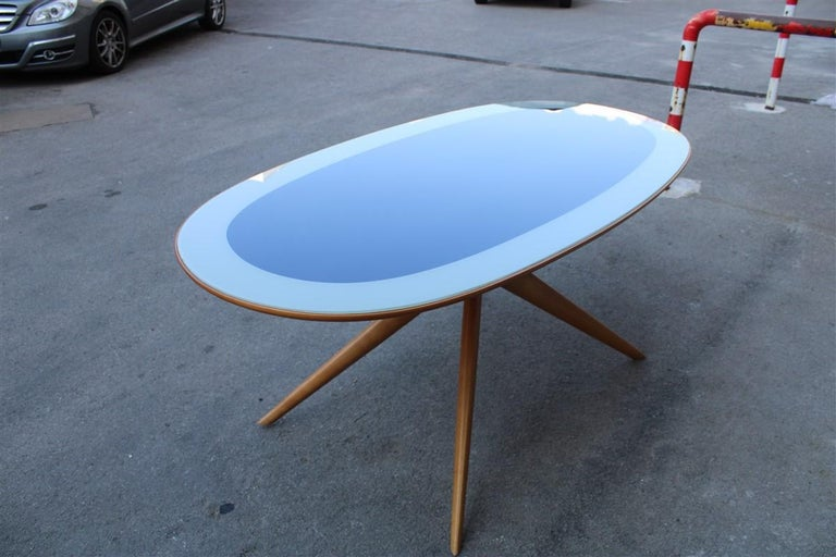 Midcentury Oval Dining Table Chestnut Maple Cobalt Blue Glass Dassi Milano For Sale 9