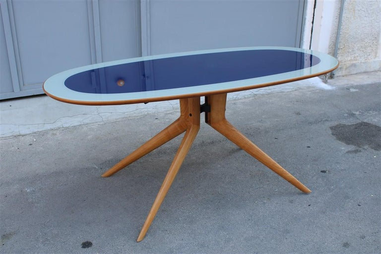 Midcentury Oval Dining Table Chestnut Maple Cobalt Blue Glass Dassi Milano For Sale 11