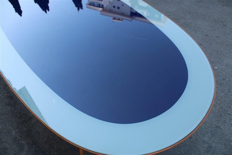 Midcentury Oval Dining Table Chestnut Maple Cobalt Blue Glass Dassi Milano In Good Condition For Sale In Palermo, Sicily