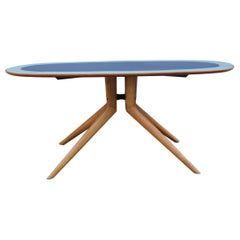 Midcentury Oval Dining Table Chestnut Maple Cobalt Blue Glass Dassi Milano
