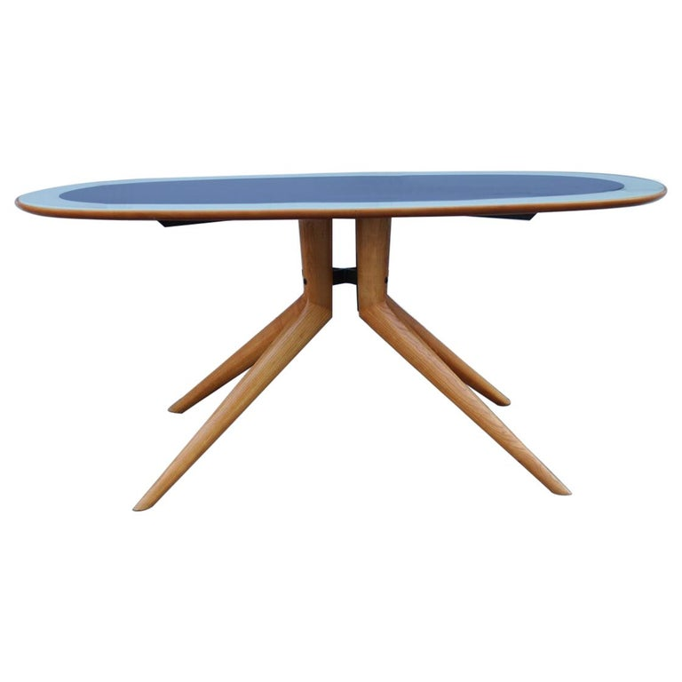 Midcentury Oval Dining Table Chestnut Maple Cobalt Blue Glass Dassi Milano For Sale