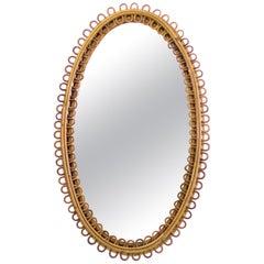Midcentury Oval Italian Rattan Mirror