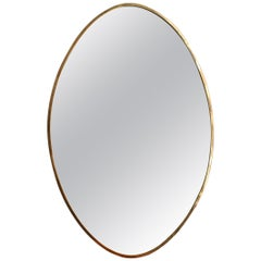 Midcentury Oval Italian Wall Mirror with Brass Frame, circa 1950s