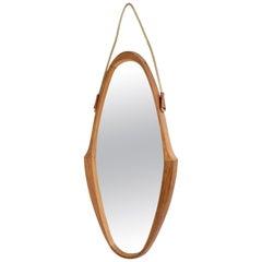Mid-Century Oval Teak Wood Mirror with Rope