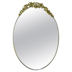Mid Century Oval Wall Mirror in Brass Frame with Top Ornament