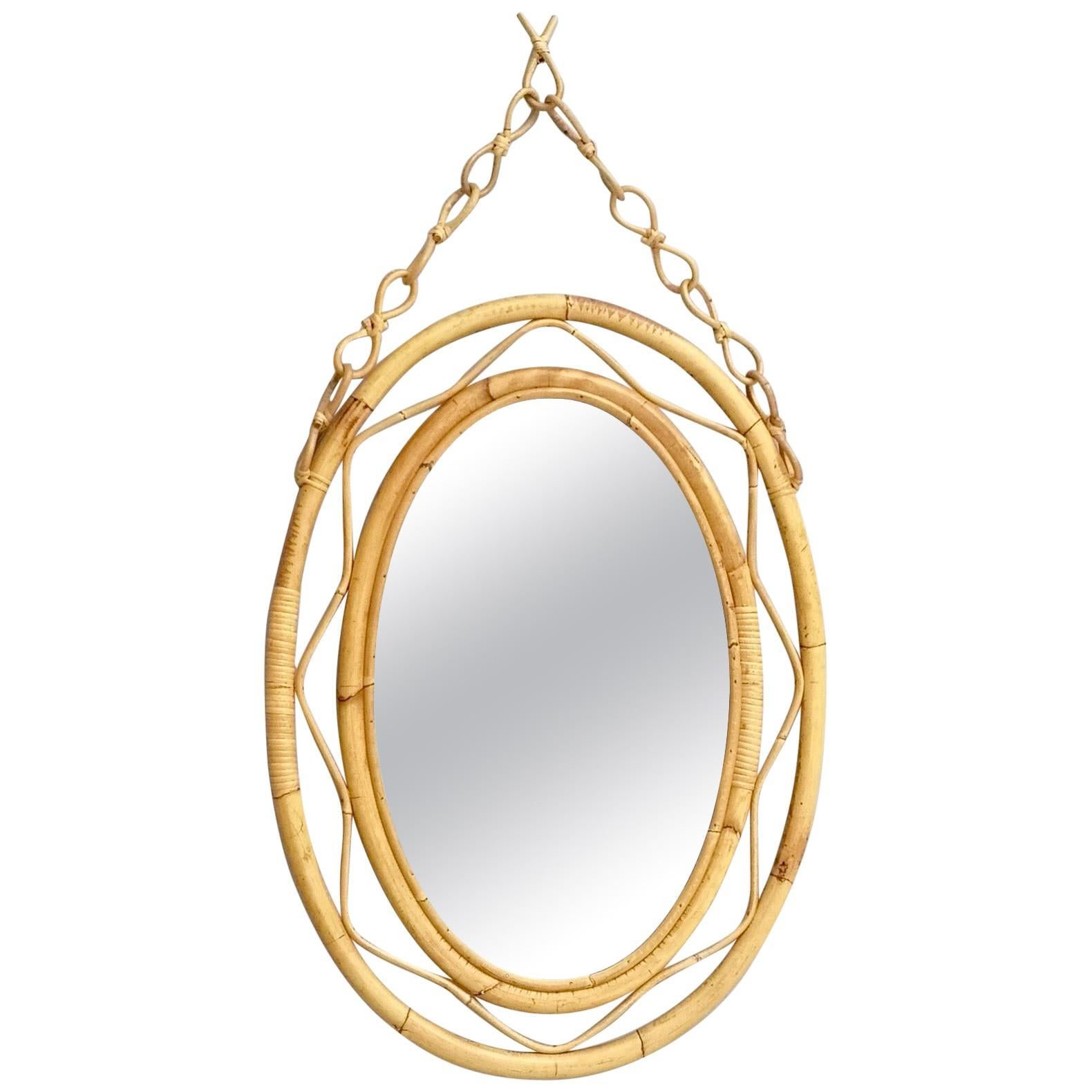 Midcentury Oval Wall Mirror with a Wicker Frame and Hanger, Italy