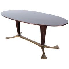 Midcentury Ovaldo Borsani Metal Wood Table, Italy, 1960