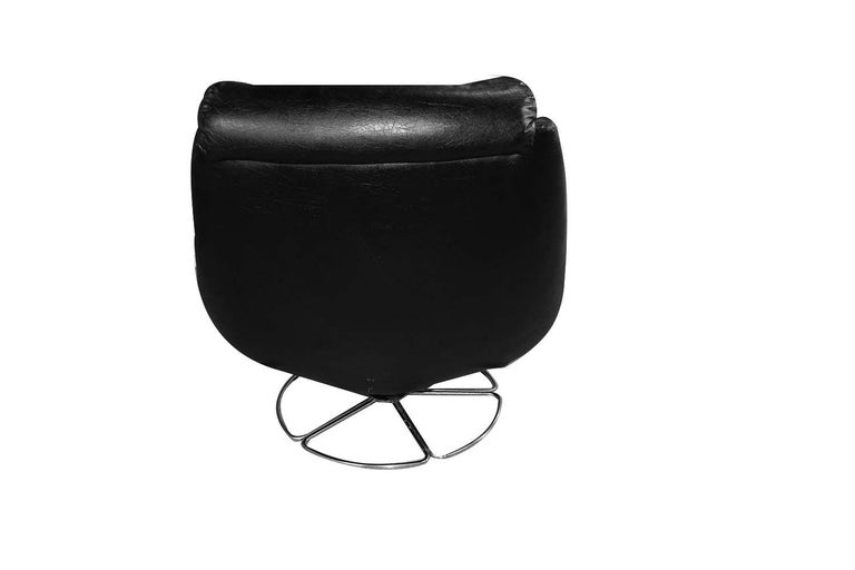 Mid-Century Modern Midcentury Overman Style High Back Swivel Black Chair For Sale