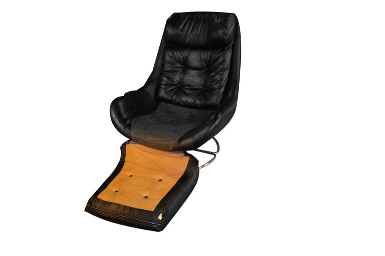 Faux Leather Midcentury Overman Style High Back Swivel Black Chair For Sale