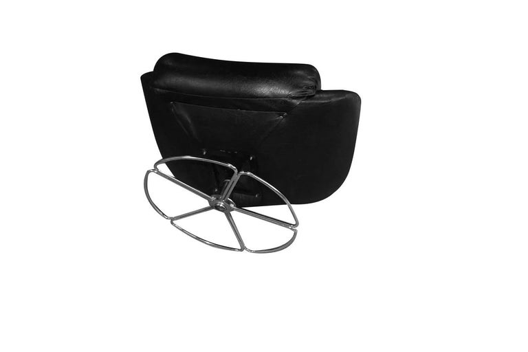 Midcentury Overman Style High Back Swivel Black Chair For Sale 1