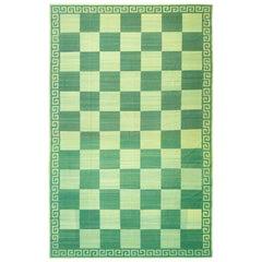 Midcentury Oversize Flatweave Checkerboard Carpet in Green