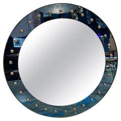 Mid Century Oversize Round Mirror, Italy, 1970