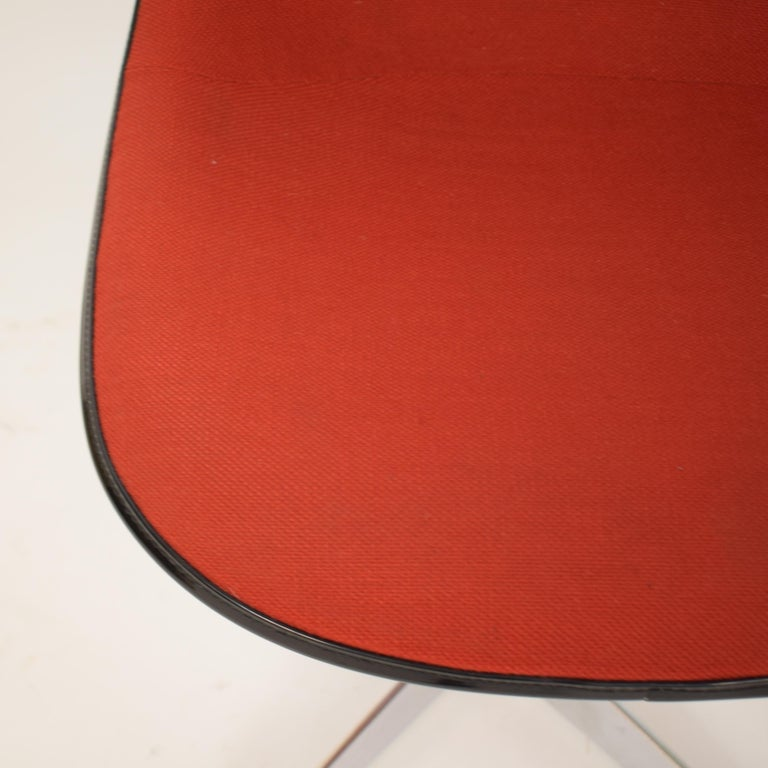Mid-Century Modern Midcentury Padded Red Side /Pedestal Chair by Eames by Vitra for Herman Miller For Sale