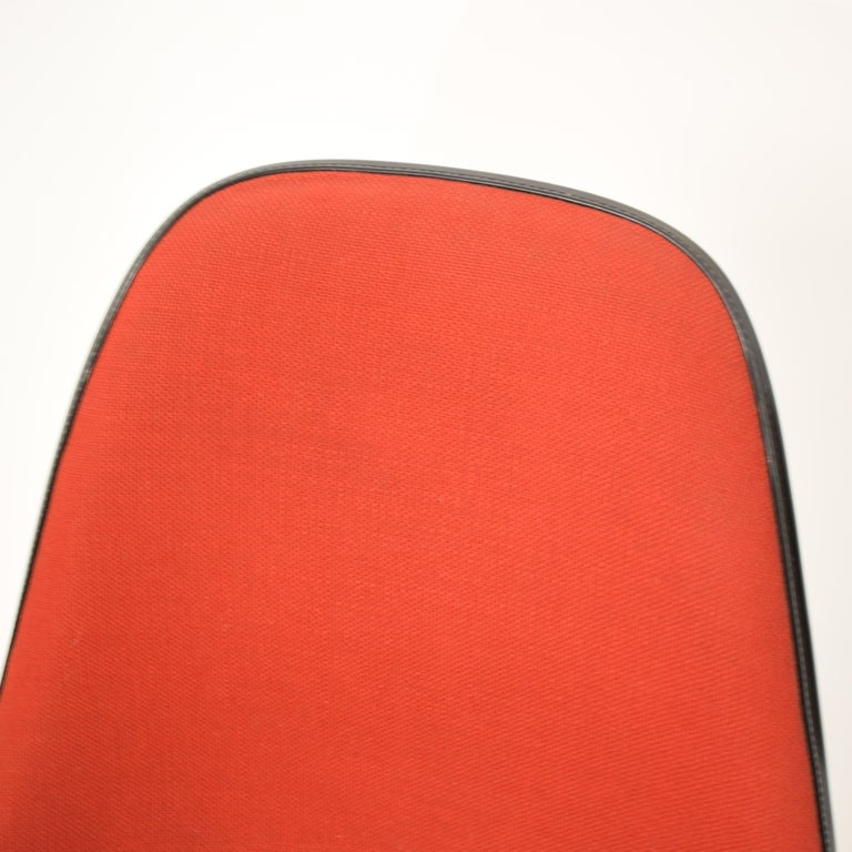 Swiss Midcentury Padded Red Side /Pedestal Chair by Eames by Vitra for Herman Miller For Sale