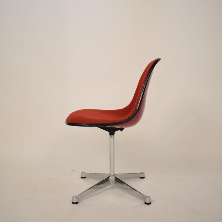 Late 20th Century Midcentury Padded Red Side /Pedestal Chair by Eames by Vitra for Herman Miller For Sale