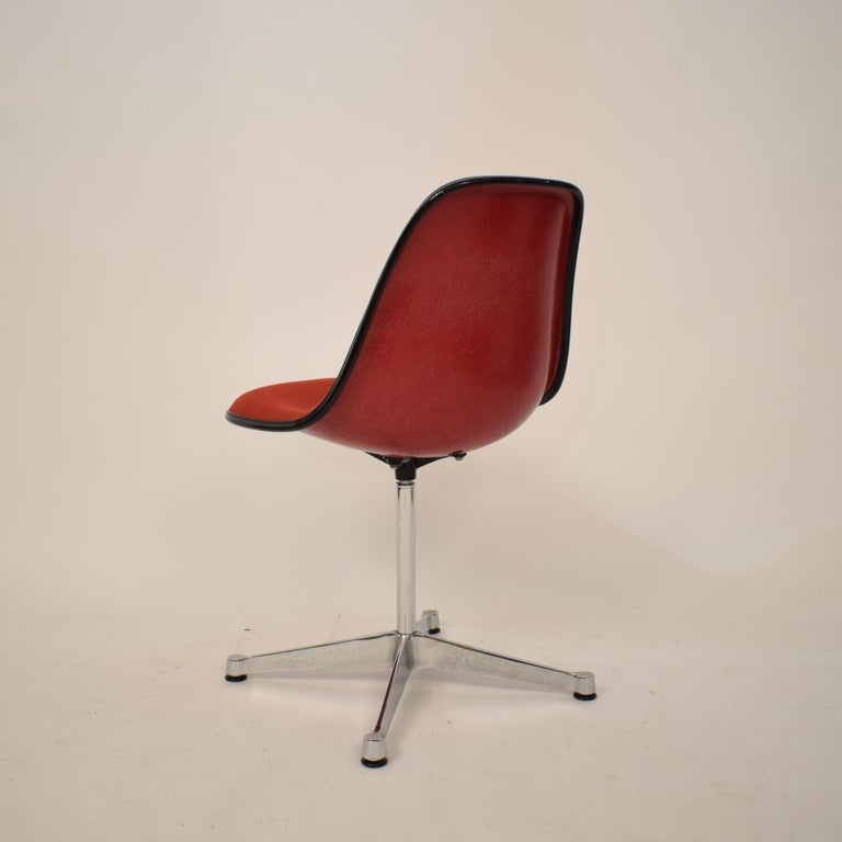 Metal Midcentury Padded Red Side /Pedestal Chair by Eames by Vitra for Herman Miller For Sale
