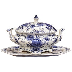 Mid-Century Painted Blue and White Delft Tureen with under Platter and Ladle