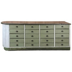 Mid-century Painted Store Counter with 20 Drawers