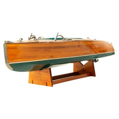 Mid-Century Painted Wooden Motorboat Model
