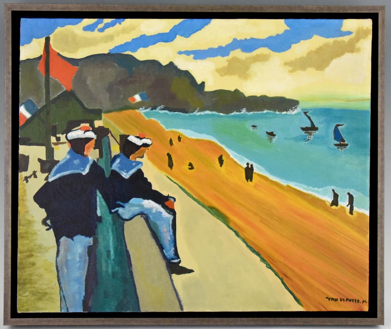 Colorful midcentury painting of the French Rivière. Two sailors on the boulevard overlooking the beach and the Mediteranian Sea. Signed M. van de Putte, 1960. Framed.