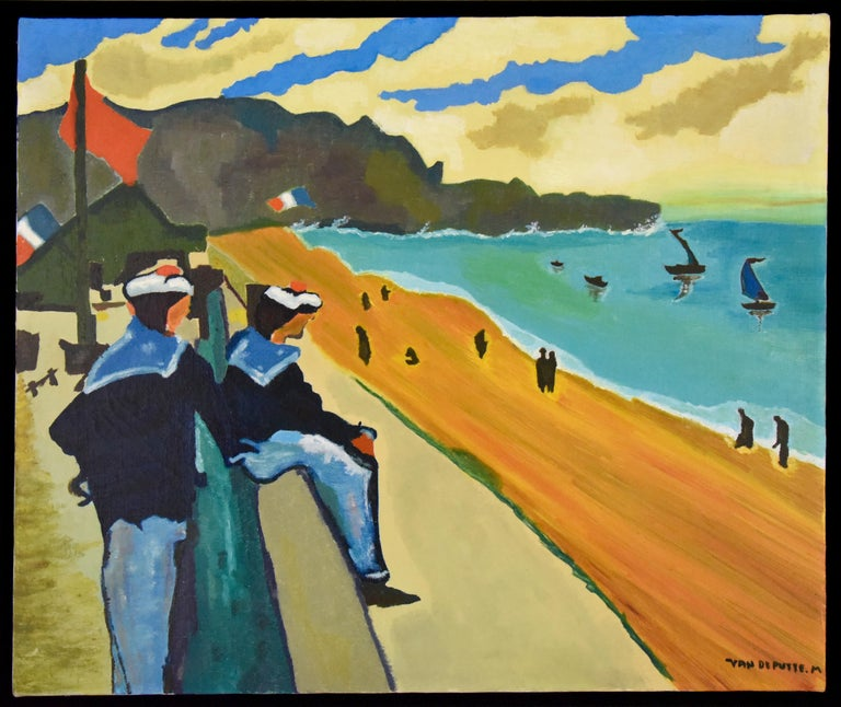 Mid-Century Modern Midcentury Painting French Riviera Sailors at the Beach M van de Putte, 1960 For Sale