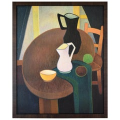 Midcentury Painting Interior Still Life with Jugs Albert Labachot France  1960