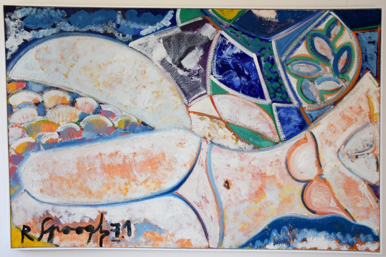 Midcentury painting woman bather, reclining nude by R. Spoogh, 1971 Beautiful colors, blue, green, orange and white.