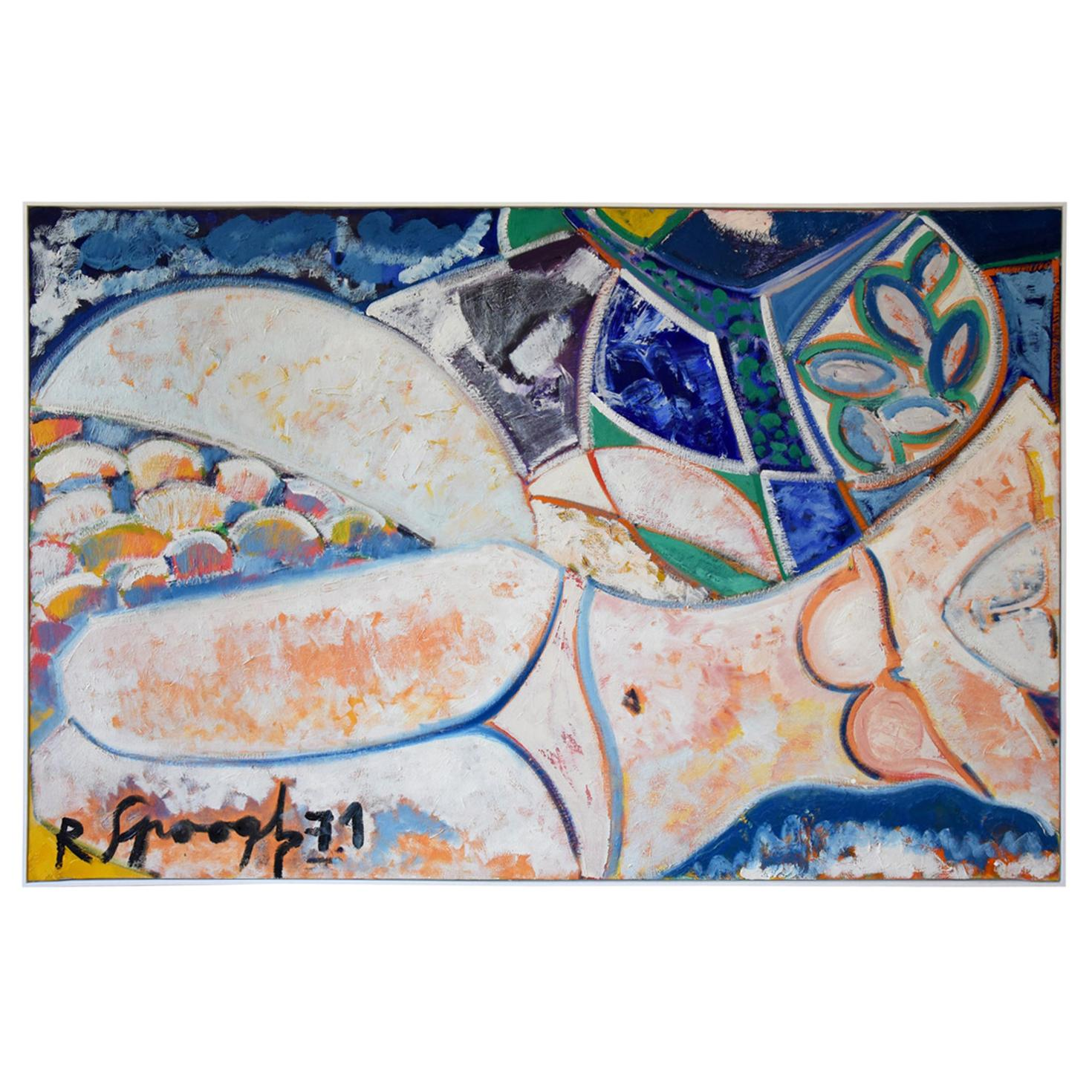 Midcentury Painting Woman Bather Nude R. Spoogh France