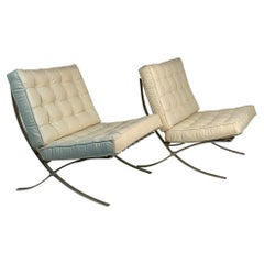 Mid Century Pair Barcellona Armchairs by Mies van der Rohe