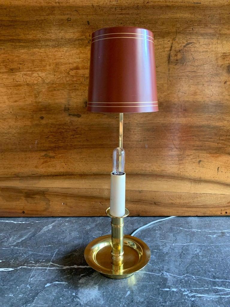 Mid Century Pair Danish Brass Bouillotte Lamps For Sale 4
