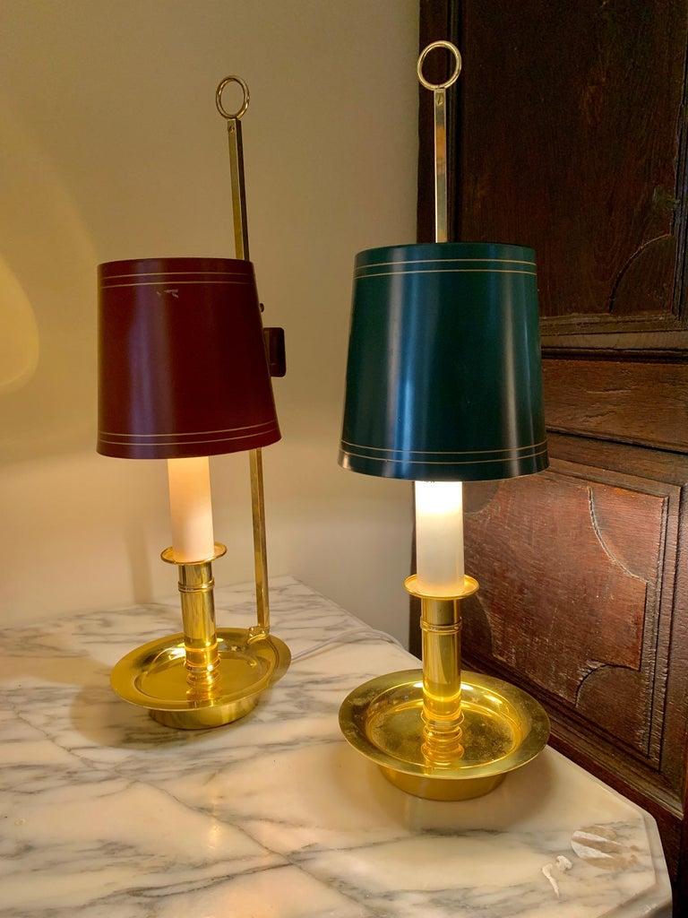 Mid Century Pair Danish Brass Bouillotte Lamps For Sale 5