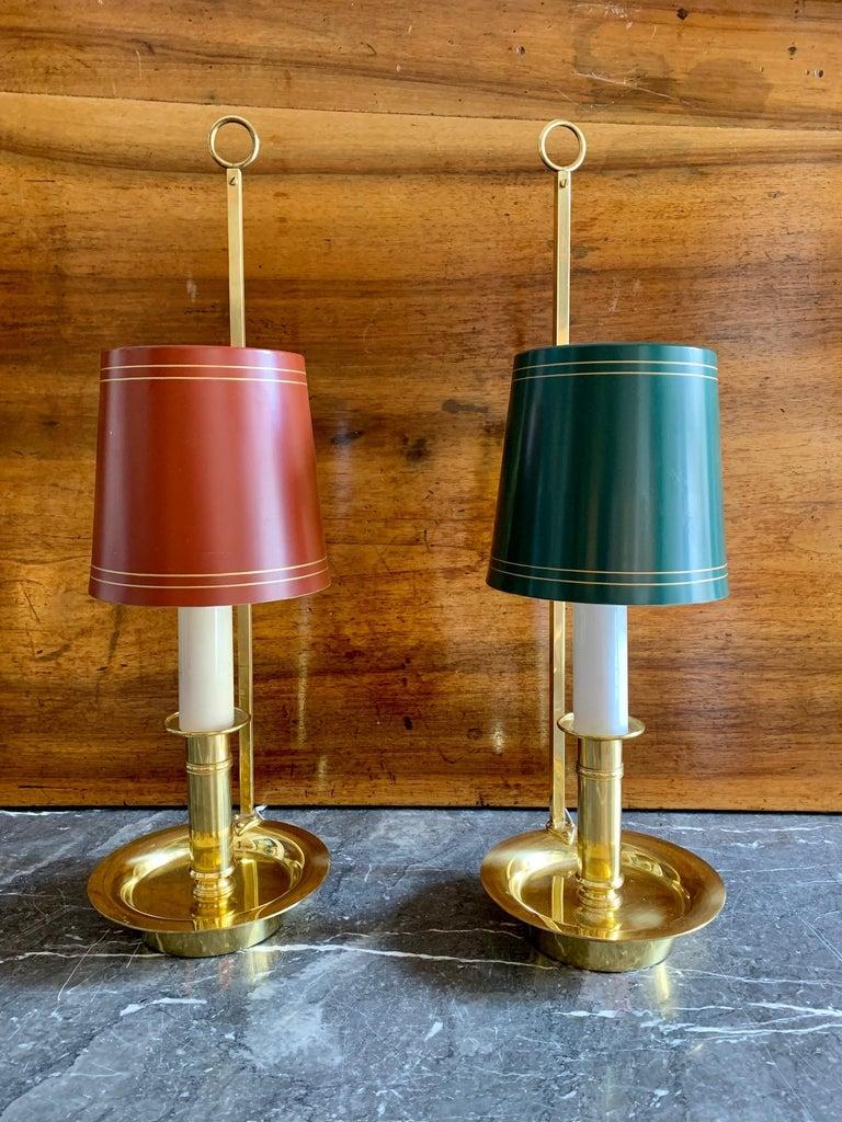 Mid Century Pair Danish Brass Bouillotte Lamps For Sale 6