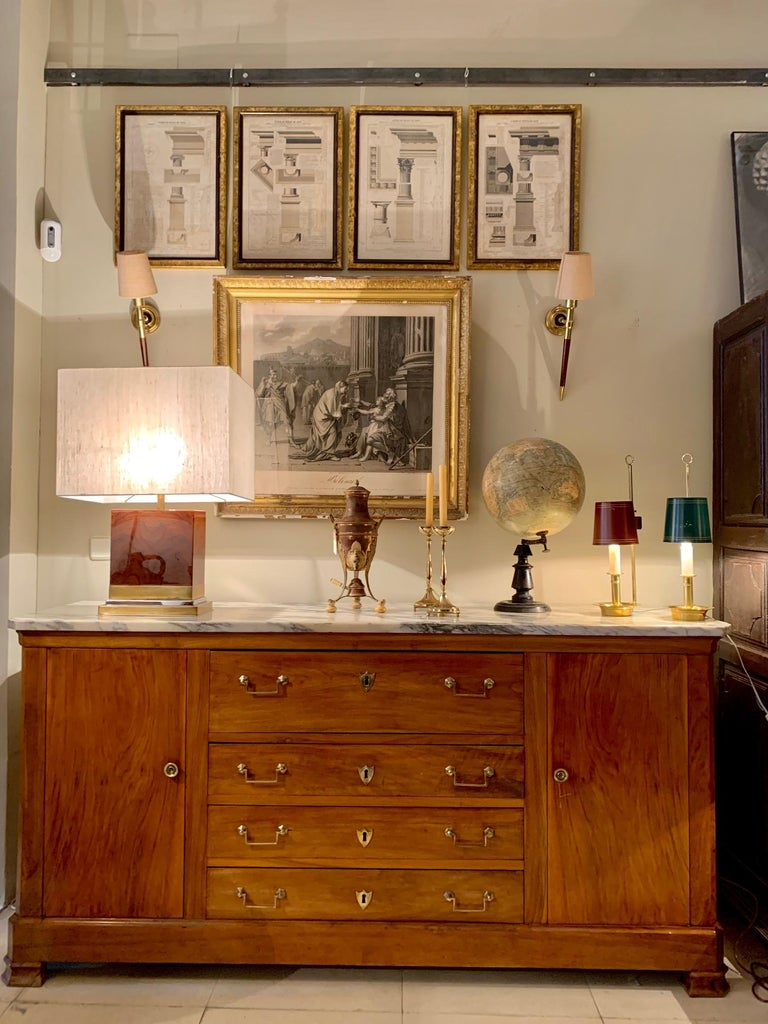 Mid Century Pair Danish Brass Bouillotte Lamps For Sale 7