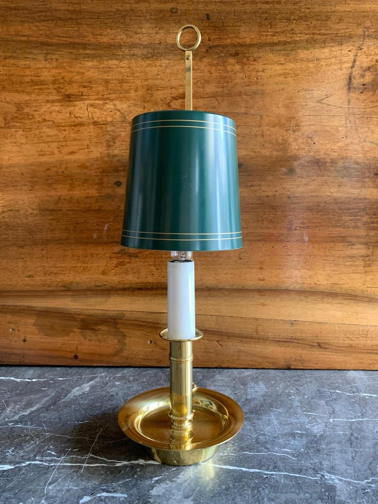 Painted Mid Century Pair Danish Brass Bouillotte Lamps For Sale