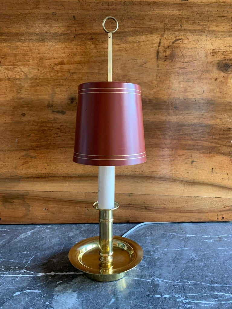 Mid Century Pair Danish Brass Bouillotte Lamps For Sale 1