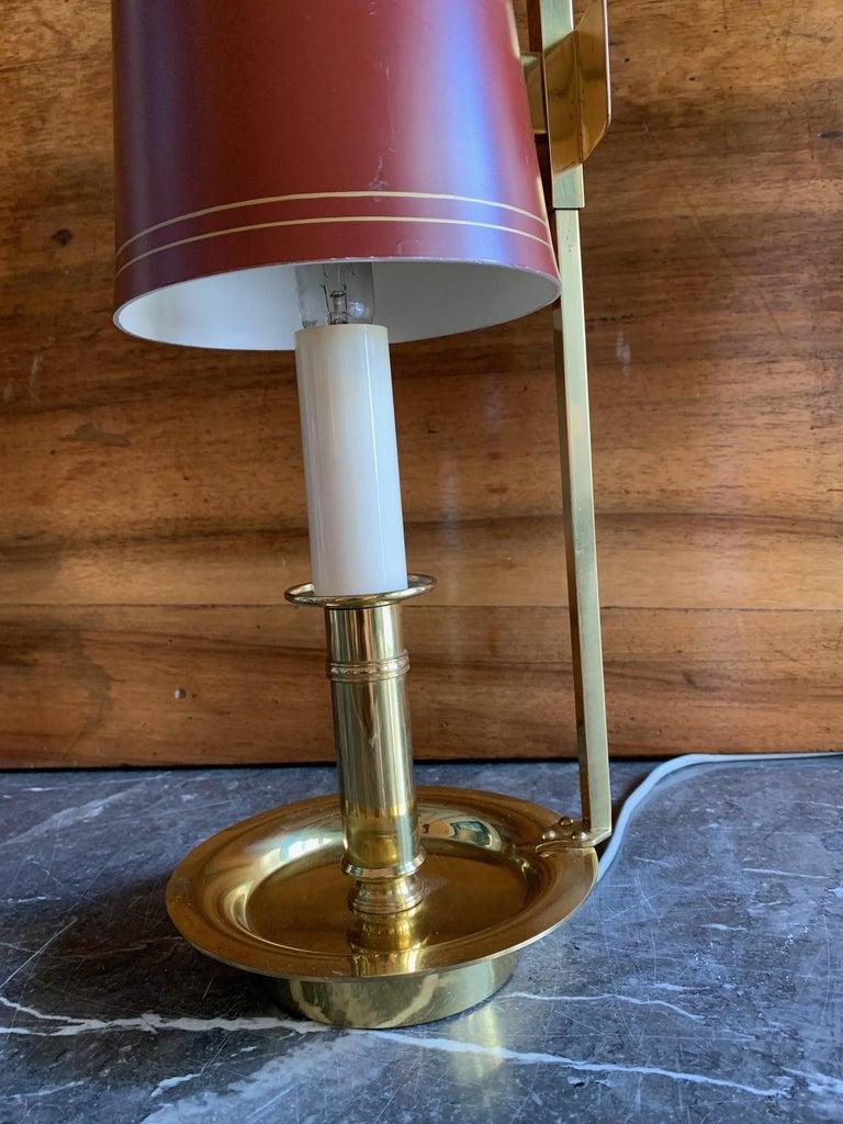 Mid Century Pair Danish Brass Bouillotte Lamps For Sale 2
