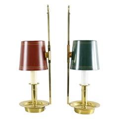 Mid Century Pair Danish Brass Bouillotte Lamps