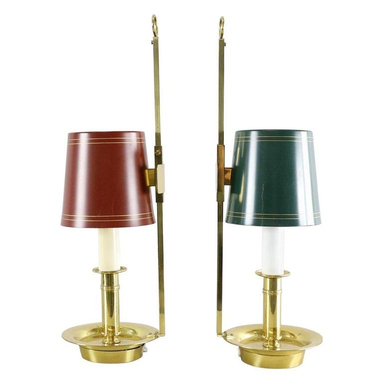Mid Century Pair Danish Brass Bouillotte Lamps For Sale