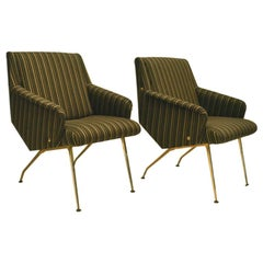 Pair of 1950s Chairs in Black and Gold Striped Fabric