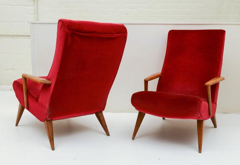 Mid-Century Modern Mid Century Pair Italian Red Velvet Wood Elegant Lounge Chairs, 1960's, Italy For Sale