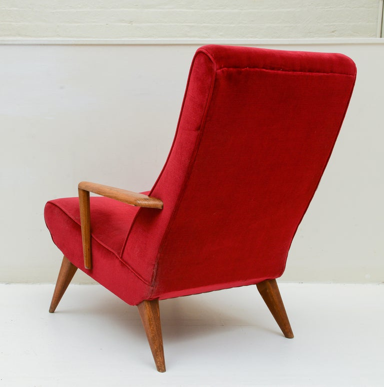 Mid Century Pair Italian Red Velvet Wood Elegant Lounge Chairs, 1960's, Italy In Good Condition For Sale In New York, NY