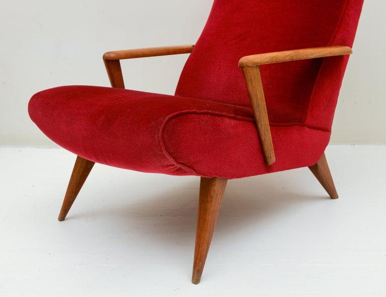 20th Century Mid Century Pair Italian Red Velvet Wood Elegant Lounge Chairs, 1960's, Italy For Sale